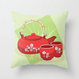 Red Tea Set Throw Pillow