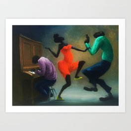 African American Masterpiece 'Piano Jazz, New Orleans' by O. Bulman Art Print