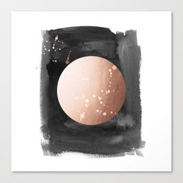 Black night full moon rose gold Canvas Print