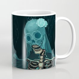 Skeleton with veil and white roses Coffee Mug