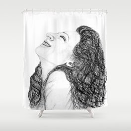 Tell Me Something Good in B/W - Expressions of Happiness Series - Black and White Original Drawing Shower Curtain