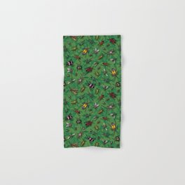 Bugs & Insects on Green Floral Background Hand & Bath Towel