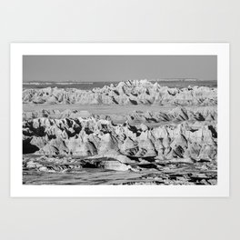 Landscape Black and White Badlands National Park Photograph Art Print