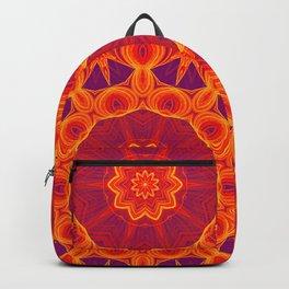 Fire red elegant kaleidoscope mandala Backpack