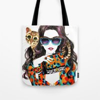 kenzo Tote Bags featuring Kenzo Girl by Sunny Gu