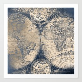 Antique World Map White Gold Navy Blue by Nature Magick Art Print