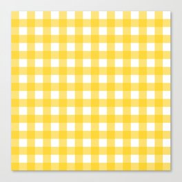 White & Yellow Gingham Pattern Canvas Print