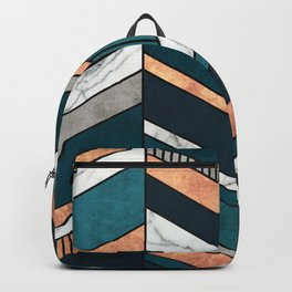 Abstract Chevron Pattern - Copper, Marble, and Blue Concrete Backpack