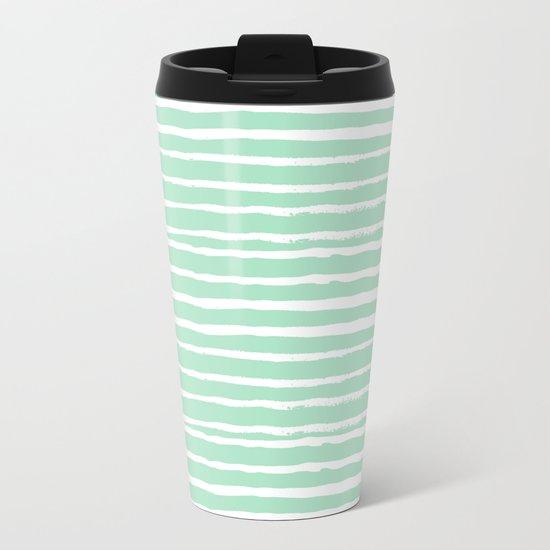Mint stripes painted stripe pattern minimal nursery gender neutral Metal Travel Mug