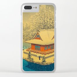 Vintage Japanese Woodblock Print Winter Red Pagoda Falling Show Blue Lake Clear iPhone Case