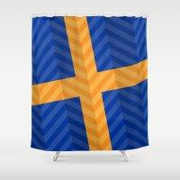 sweden Shower Curtains featuring Sweden Flag by m. arief (mochawalk)