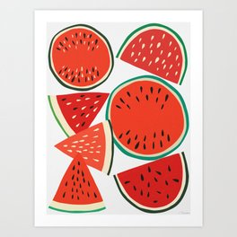 Sliced Watermelon Art Print