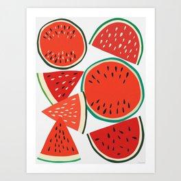 Sliced Watermelon Art Print