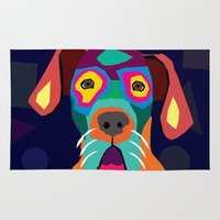 dog Area & Throw Rugs featuring dog by ron ashkenazi