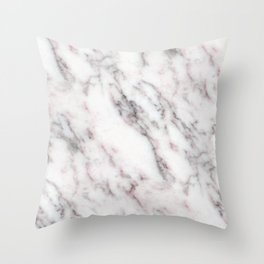 Soft Pink and Charcoal Veins on Whipped Cream Marble Throw Pillow