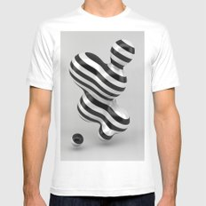 Primitive Stripes MEDIUM Mens Fitted Tee White
