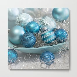 Blue  turquoise christmas baubles and bowl Metal Print