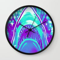 jaws Wall Clocks featuring Jaws by Retkikosmos