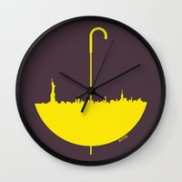 how i met your mother Wall Clocks featuring Yellow umbrella by Beitebe