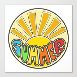 Summer ticker, Summer design, beach sticker, colorful sticker, sunshine Canvas Print
