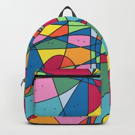 Colorful and funny people peeking Backpack