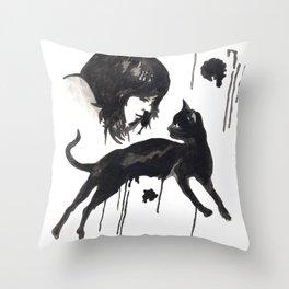Black Pixel cat  Throw Pillow