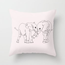 Elephants simple Illustration Throw Pillow