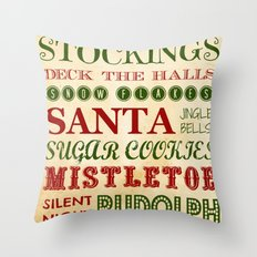 Subway Style Christmas Words Throw Pillow