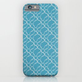 Weaving of curved white barbed wire with spikes on a blue background. Bright diagonal pattern iPhone Case