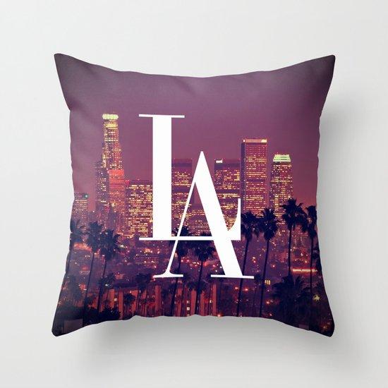 Downtown LA Vintage Skyline Typography Throw Pillow