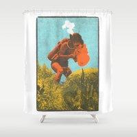 scuba Shower Curtains featuring Scuba Pop by Joshua Lee