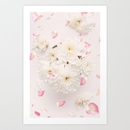 Soft Pink Flower Petals and White Flowers Art Print