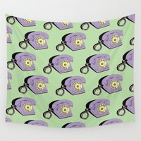 telephone Wall Tapestries featuring Telephone (purple & green) by The Wallpaper Files