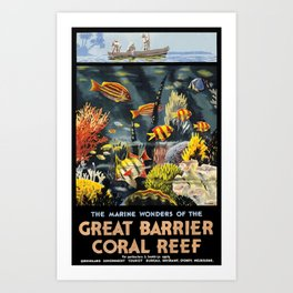 1933 Australia Great Barrier Coral Reef Travel Poster Art Print