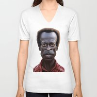 miles davis V-neck T-shirts featuring Celebrity Sunday ~ Miles Dewey Davis by rob art | illustration