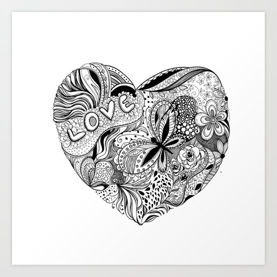 Floral heart for Valentines day Art Print