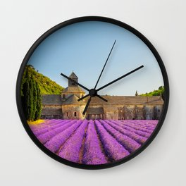 Senanque Abbey and lavender flowers. Wall Clock