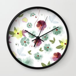 Cute soft spring pattern with flowers Wall Clock