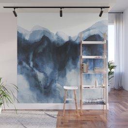 Abstract Indigo Mountains Wall Mural