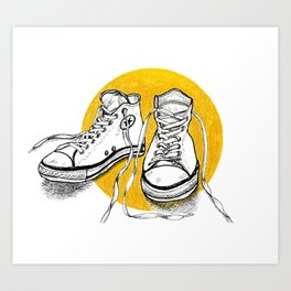 All stars converse on gold Art Print