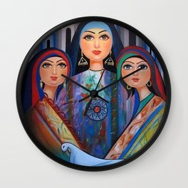 Three women with a pigeon Wall Clock