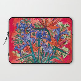Icarus Floral Still Life Painting with Greek Urn, Irises and Bird of Paradise Flowers Laptop Sleeve