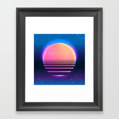 Retro vintage 80s or 90s geometric style abstract art Framed Art Print