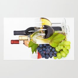 Fresh grape  and wine isolated on white Rug