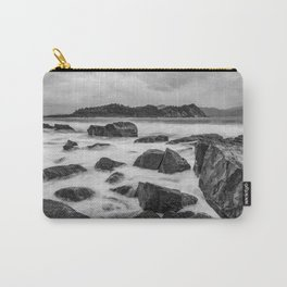 Rocky Ocean Black And White Carry-All Pouch