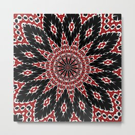 Black Red and White Bold Floral Kaleidoscope Metal Print