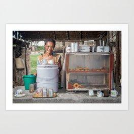Selling snacks. Morondava, Madagascar. Art Print