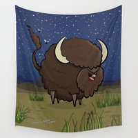 bison Wall Tapestries featuring Bison by Solano