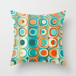 Orange and Turquoise Dots Throw Pillow