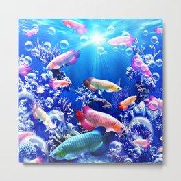 arowana,fish,river,blue Metal Print
